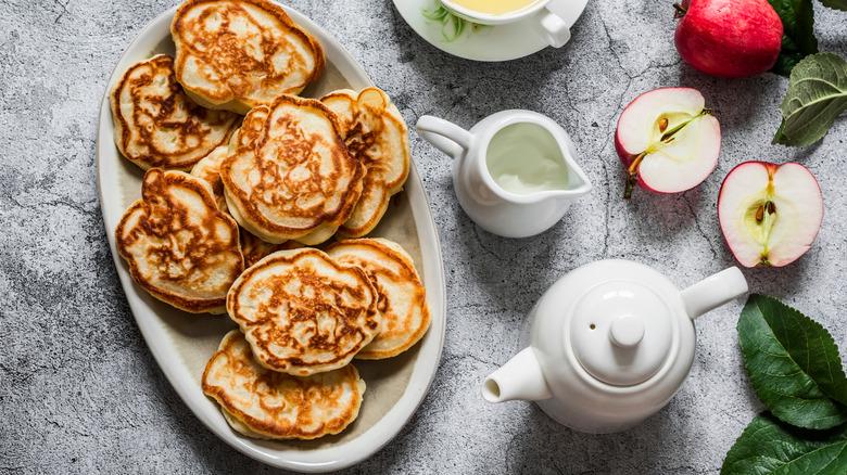 A platter of pancakes