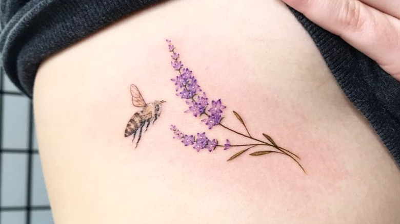 Tattoo of lavender and bee