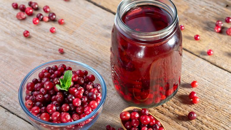Cranberry juice with cranberries