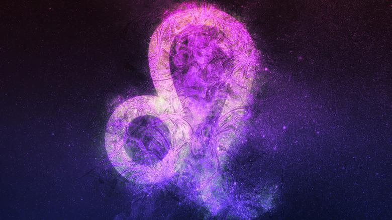 Leo zodiac symbol pink