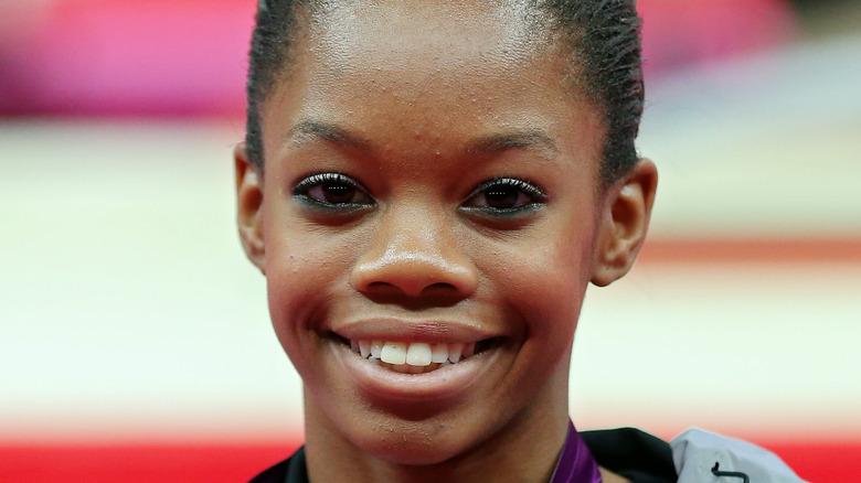 Gabby Douglas smiling at Olympics