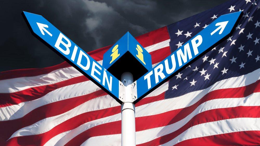 Biden and Trump signs