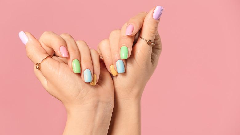 Rainbow nail manicure