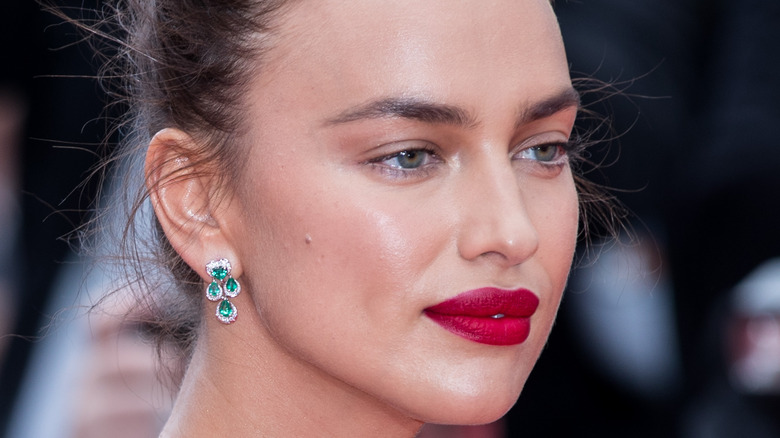 Irina Shayk wearing red lipstick