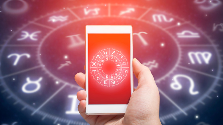 astrological chart on a phone