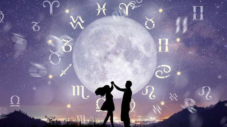 Moon surrounded by zodiac signs
