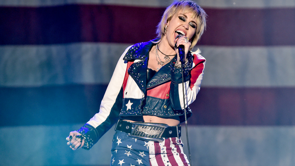 Miley Cyrus American flag outfit