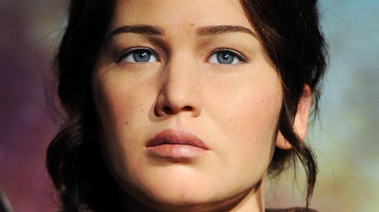 """Jennifer Laurence as Katniss in """"The Hunger Games"""" close-up"""
