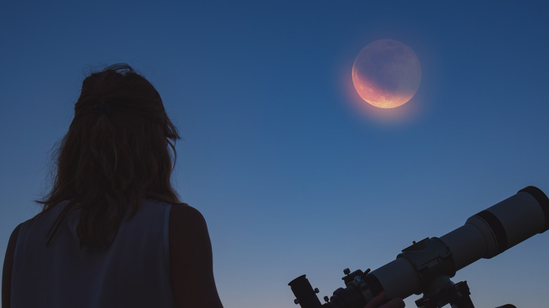 Woman looking at lunar eclipse