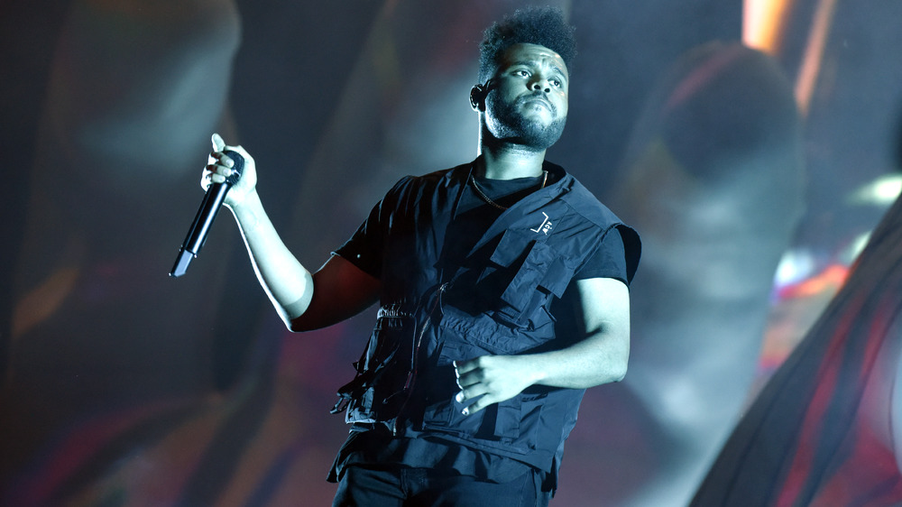 The Weeknd performing in concert