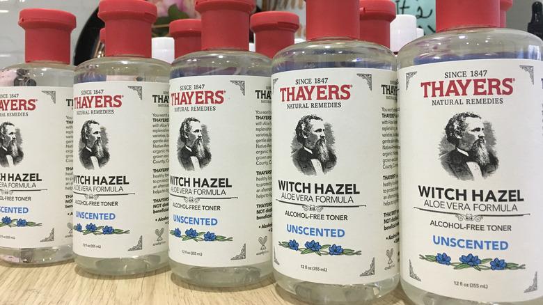 bottles of witch hazel on store shelf