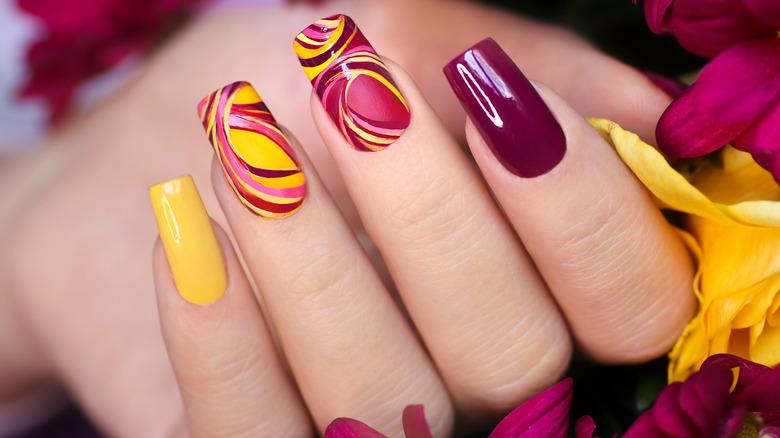 Nail art featuring swirls