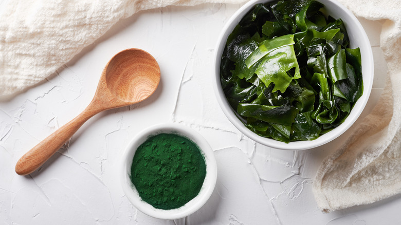 Spirulina in a bowl and in powder form