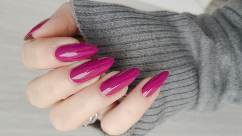 Pink almond-shaped nails