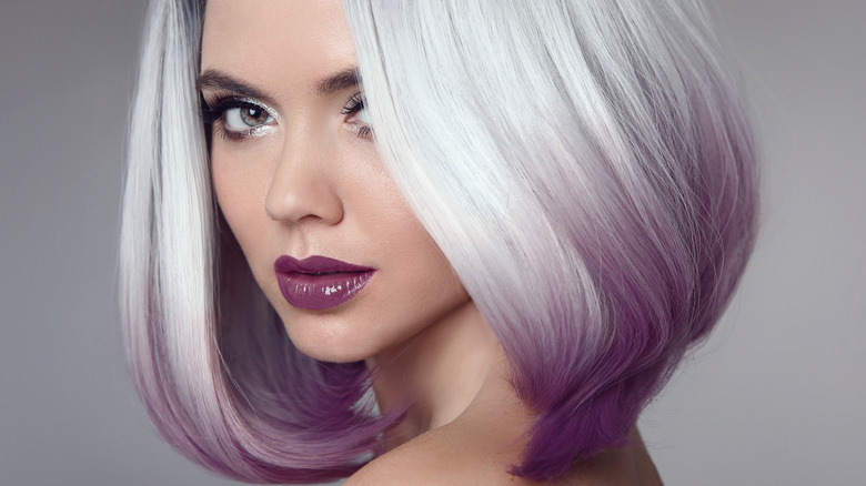 woman with purple highlights
