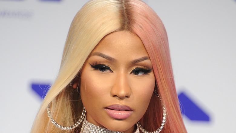 Nicki Minaj with pink and blonde hair