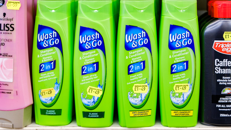 2-in-1 shampoo and conditioner bottles on a shelf