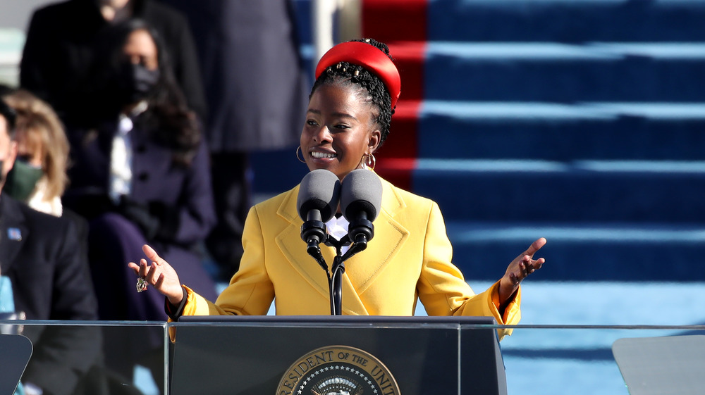 Amanda Gorman delivering her poem during the 2021 inauguration