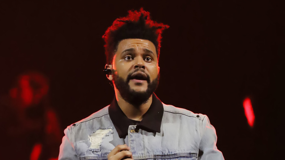 Snger The Weeknd on stage