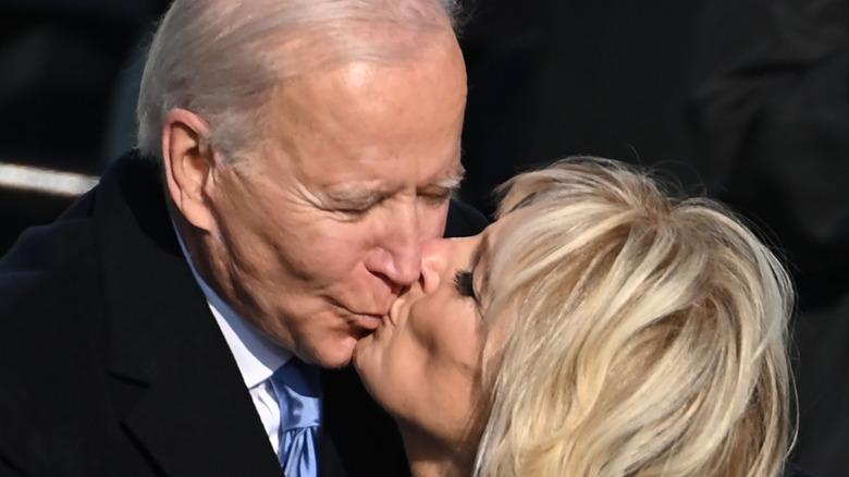 Joe and Jill Biden kissing at the inauguration