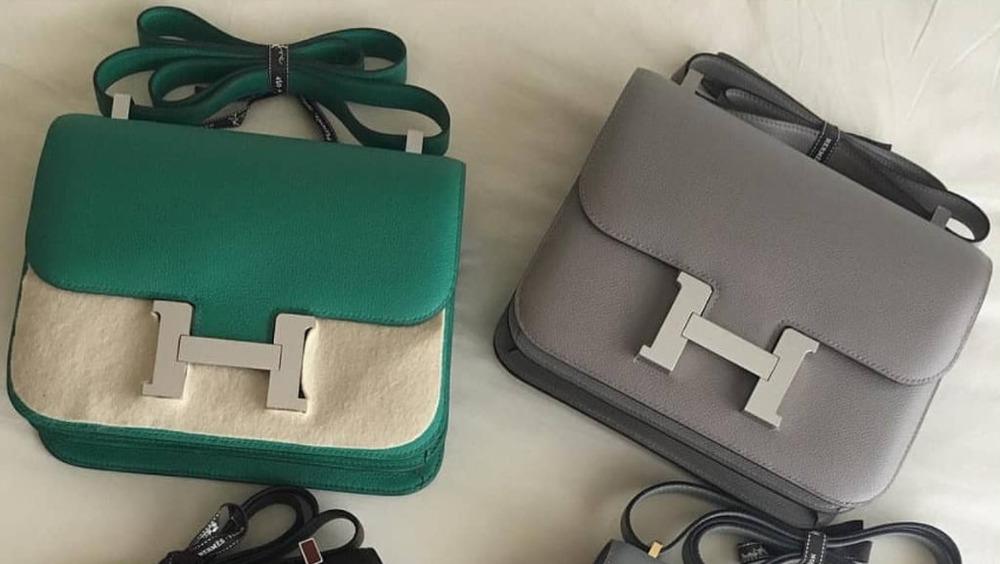 Two Hermes Birkin bags one green one grey
