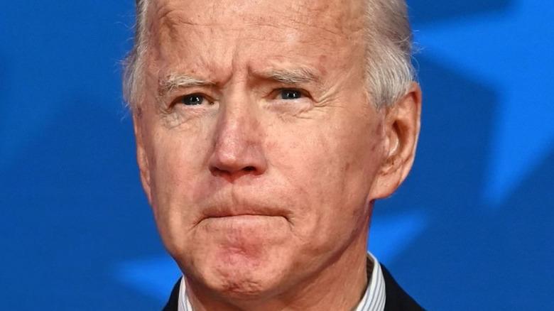 President Joe Biden blue-striped shirt