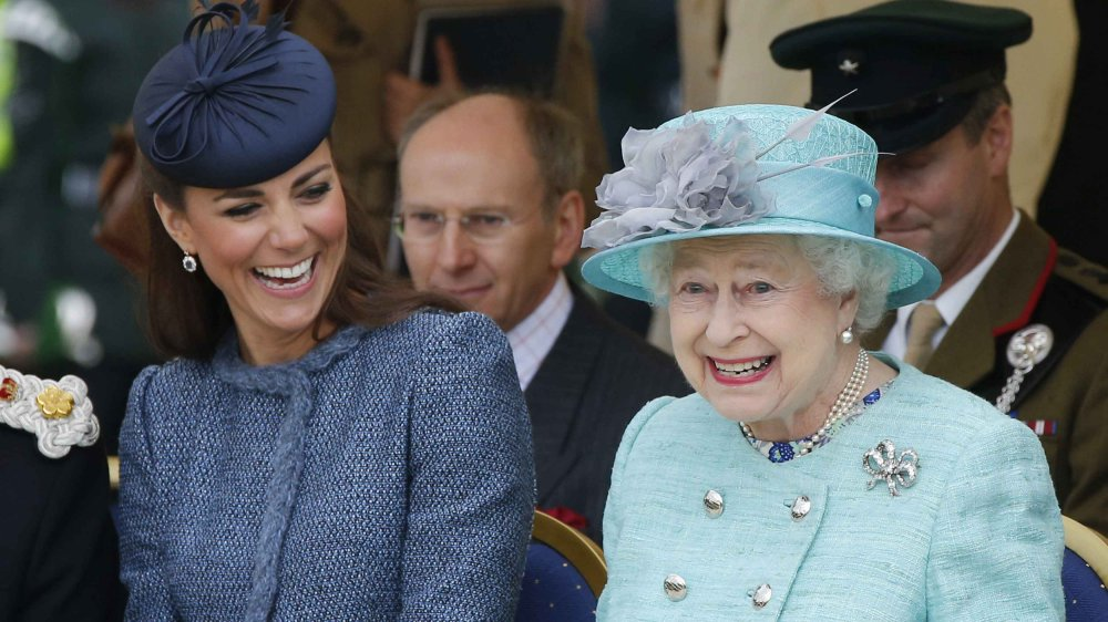 Royal family members Queen Elizabeth and Kate Middleton
