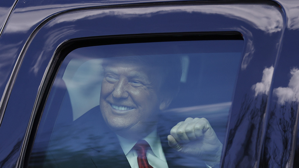 Donald Trump arriving in Florida