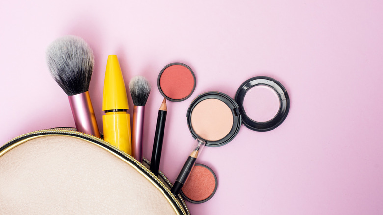 Products in a makeup bag