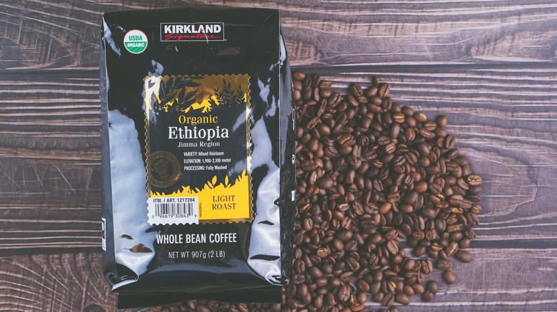 Kirkland coffee on wooden background