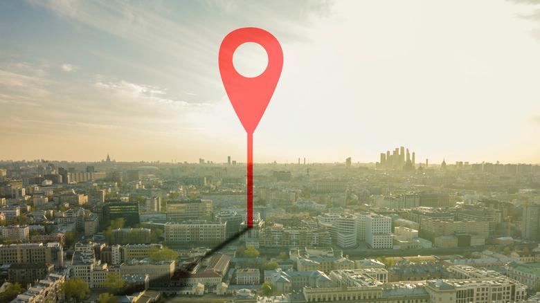 Location marker on city image