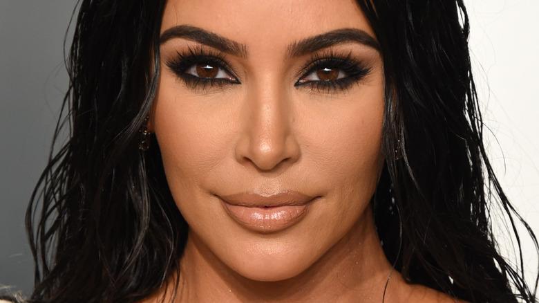 Kim Kardashian with a smoky cat-eye