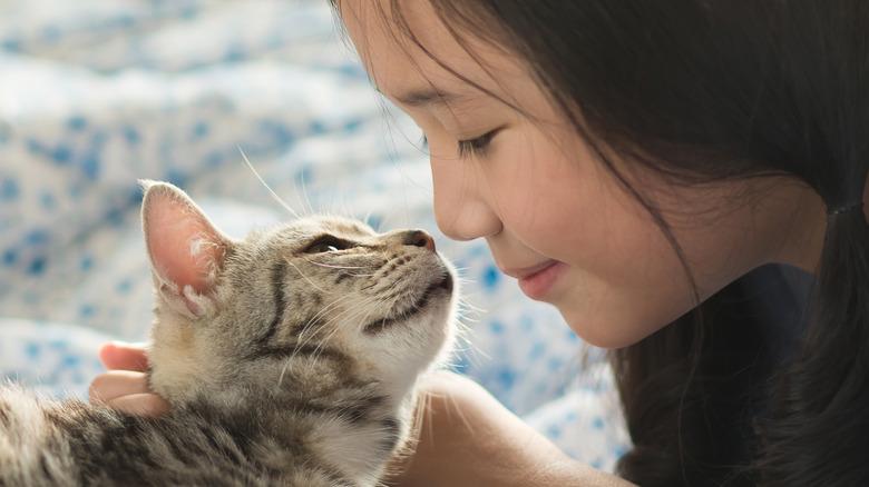 Cat licking human