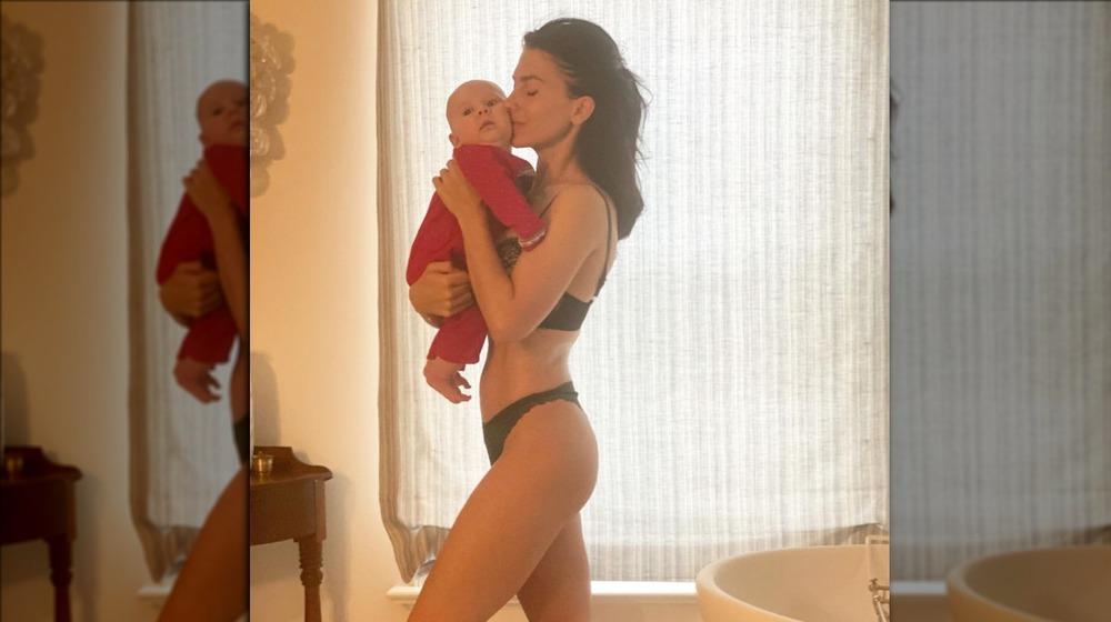 Hilaria Baldwin with infant son Edu