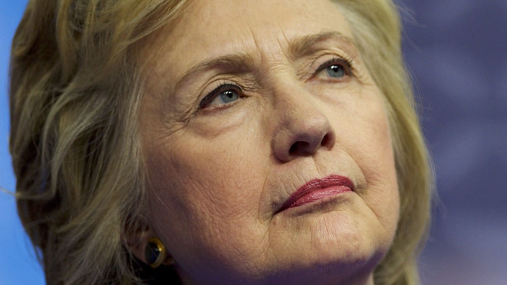 Hillary Clinton looking pensive