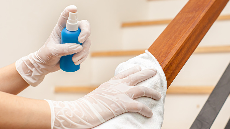 Woman cleaning a staircase hand rail