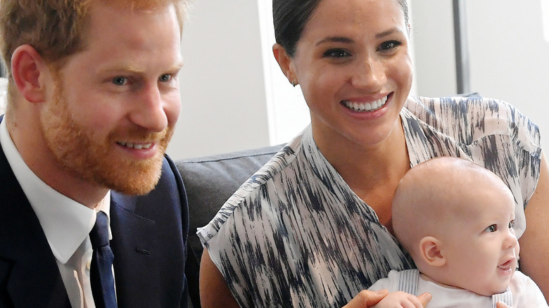 Prince Harry and Meghan Markle with son Archie.