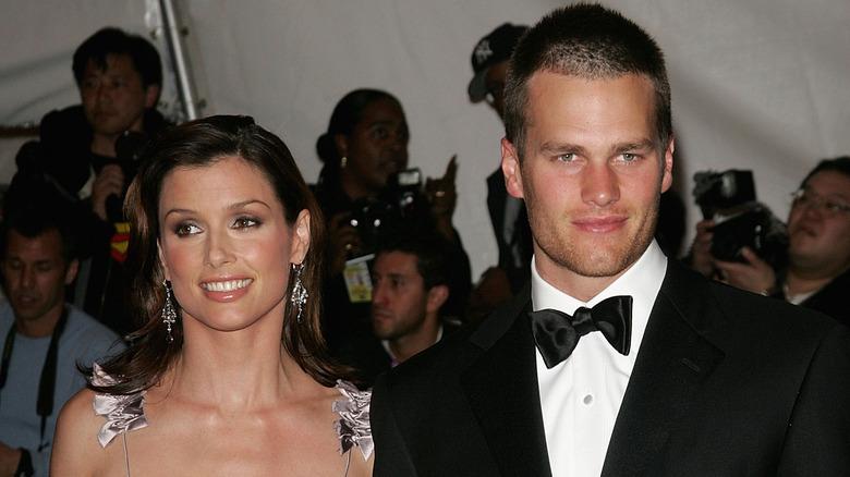 Bridget Moynahan, Tom Brady smiling at black tie event