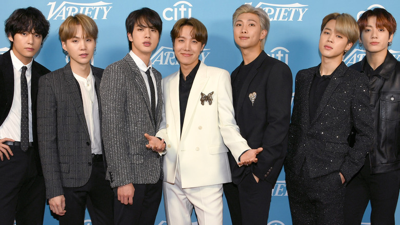 BTS pose on the red carpet together
