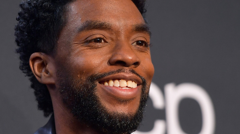 Chadwick Boseman poses on the red carpet