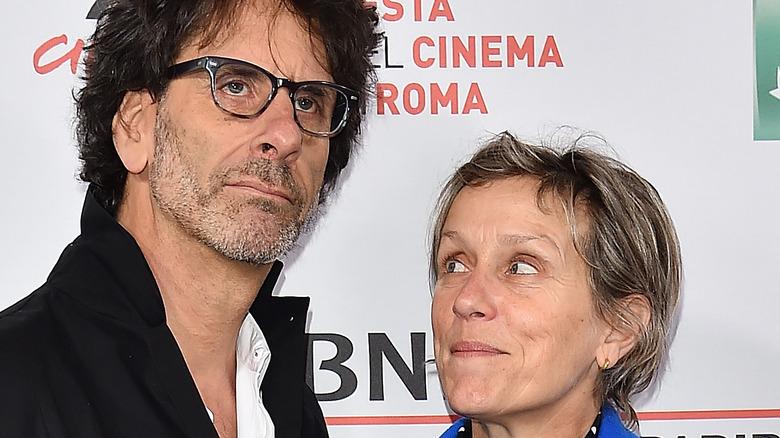 Frances McDormand looking up at Joel Coen