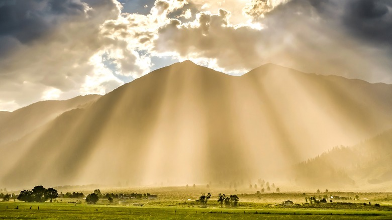 Sunlight raining down from the sky