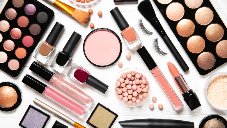 makeup products on a white background