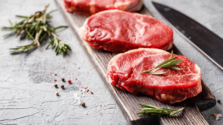 Red meat steaks with rosemary