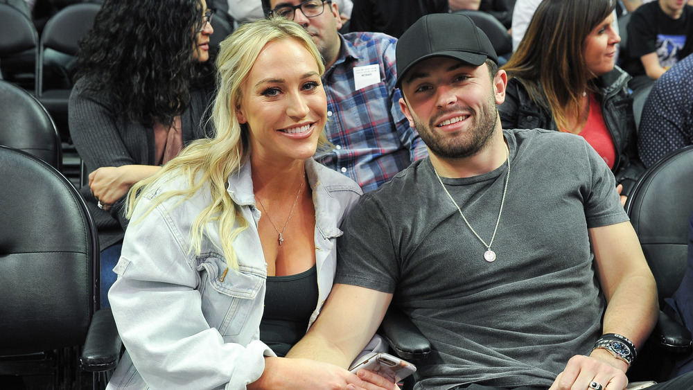 Baker Mayfield and Emily Wilkinson smiling