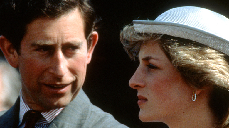 Diana Spencer and Prince Charles close-up
