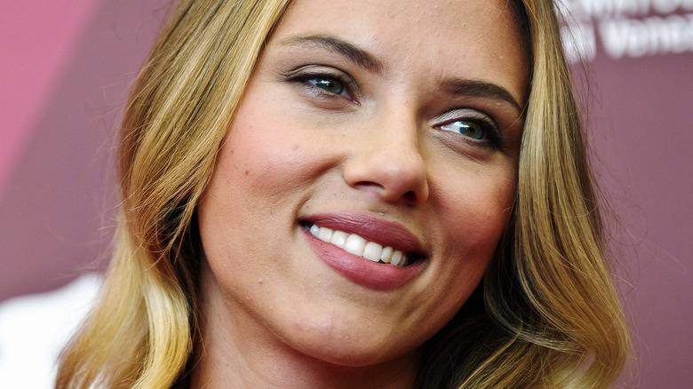 Scarlett Johansson smiling on red carpet