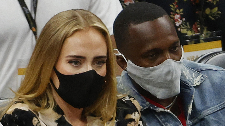 Adele and Rich Paul at the 2021 NBA Finals
