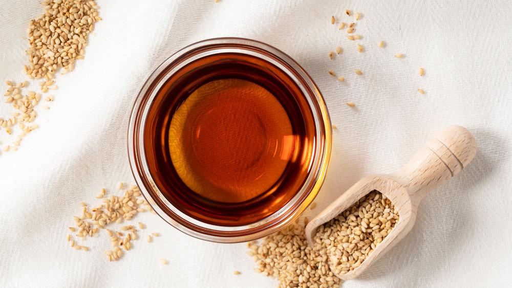 Bowl of sesame oil