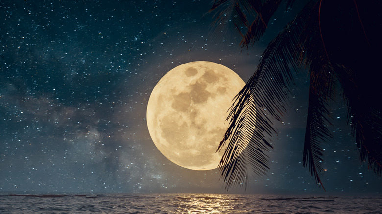 Full moon over the water.